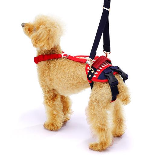 歩行補助ハーネスLaLaWalkホールド小型犬用 セーラーマリン[赤×紺]